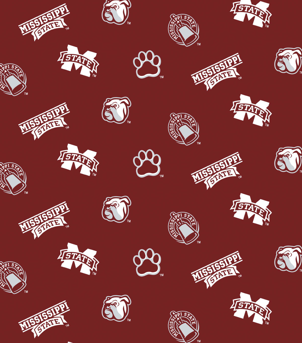 "Mississippi State University Bulldogs Cotton Fabric 44""-All Over"