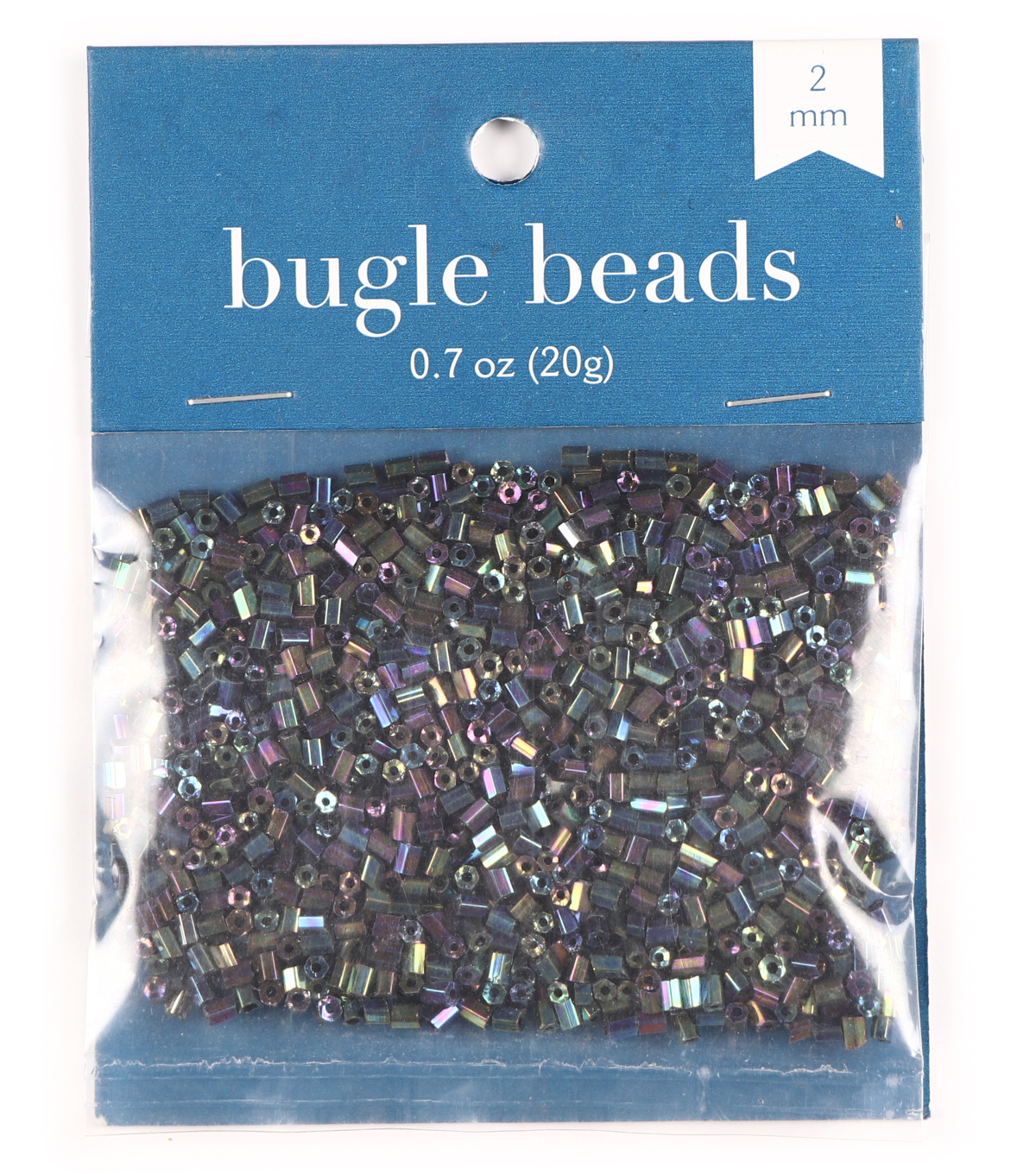2-Cut Tiny Glass Beads-Black with Rainbow Effect, 20 grams