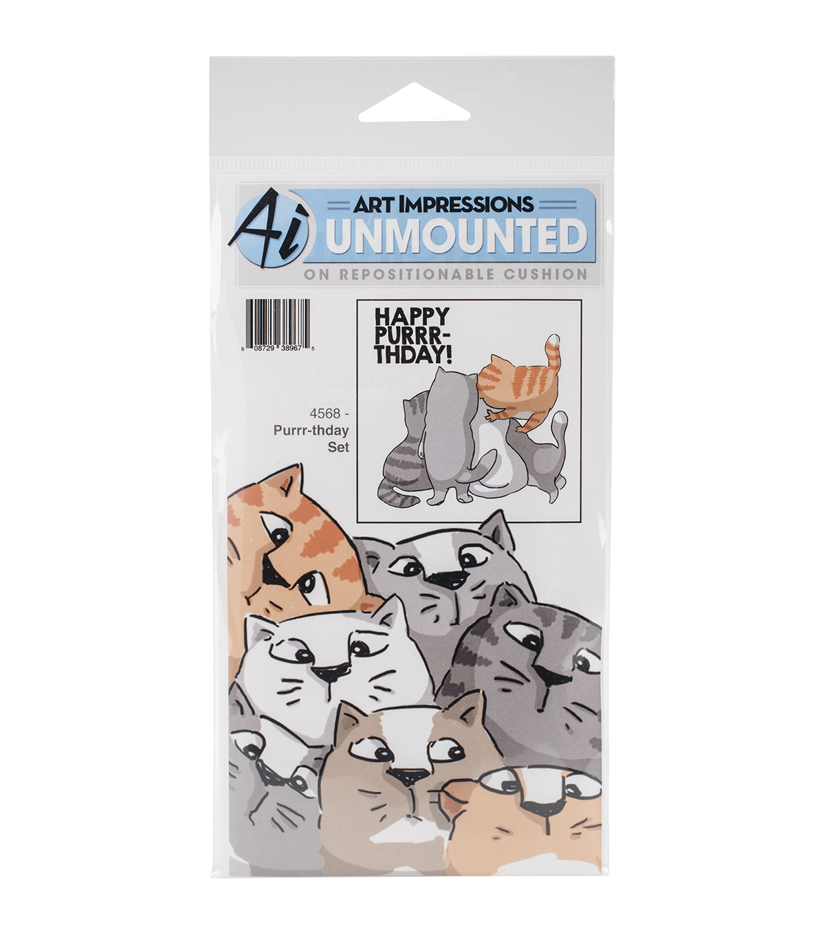 Art Impressions Front-N-Backs Purrr-Thday Cling Rubber Stamp