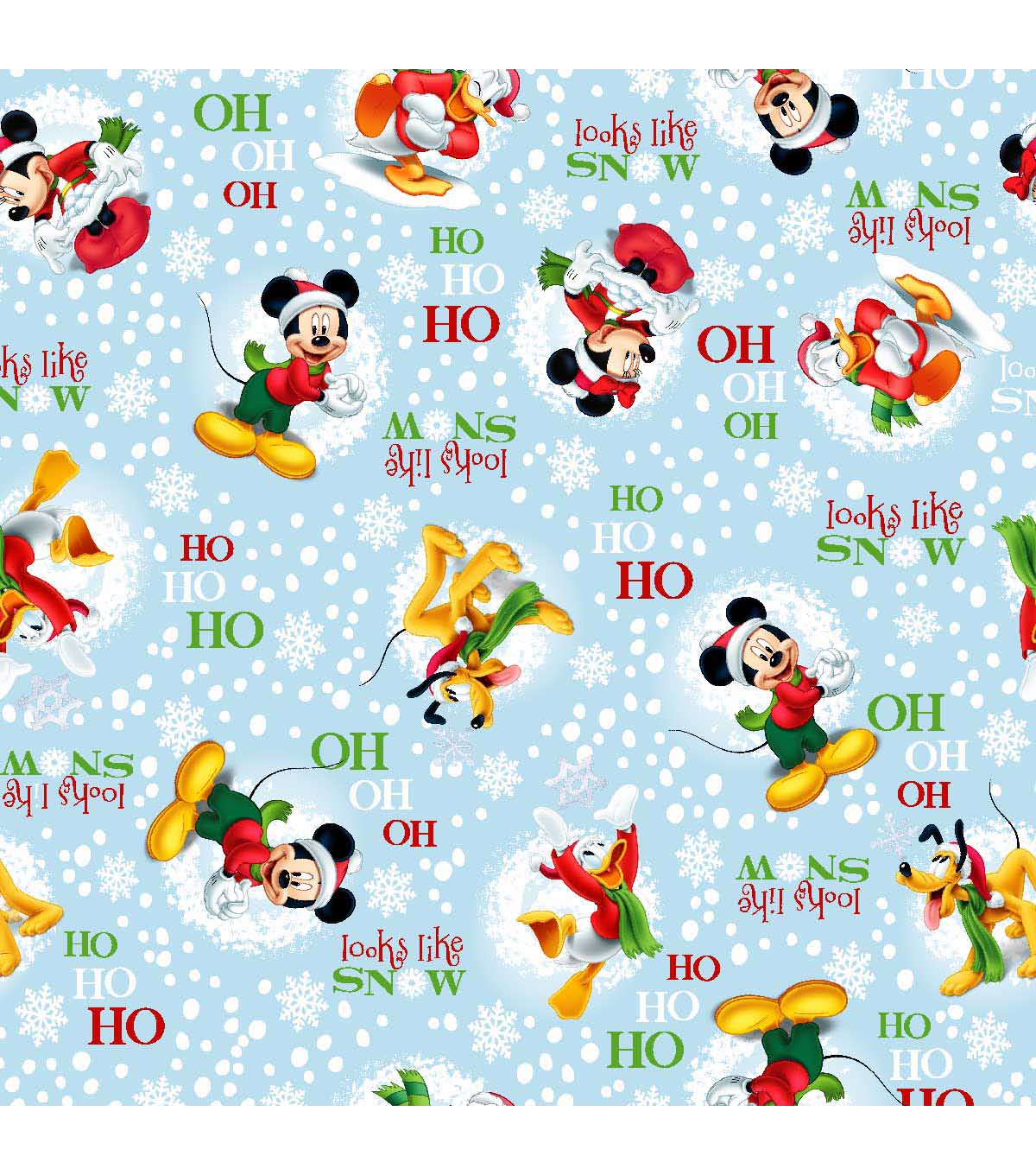 Holiday Inspirations Fabric-Christmas Mickey Looks Like Snow | JOANN