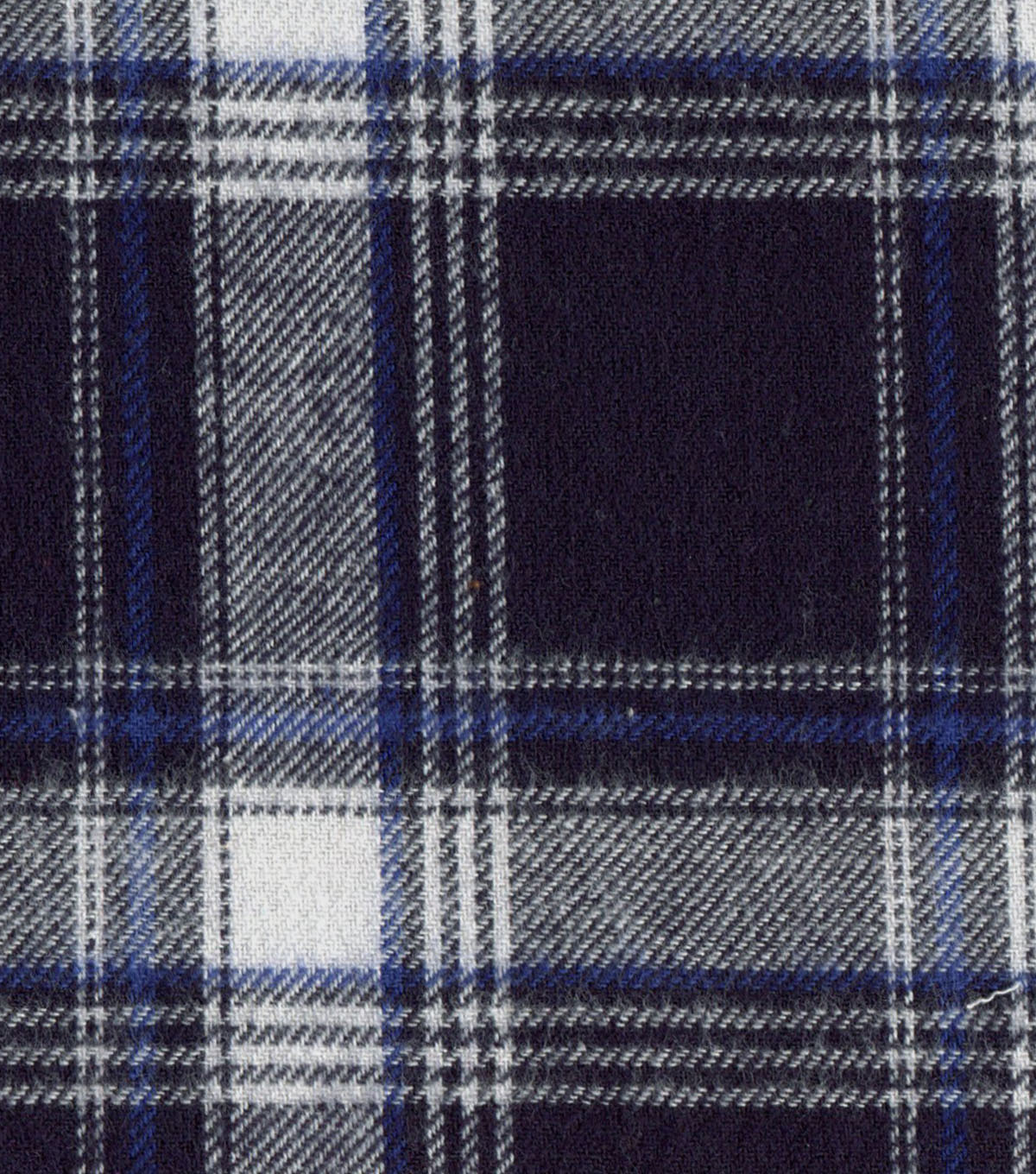 Flannel Shirting Fabric 41\u0022-Navy, White & Cobalt