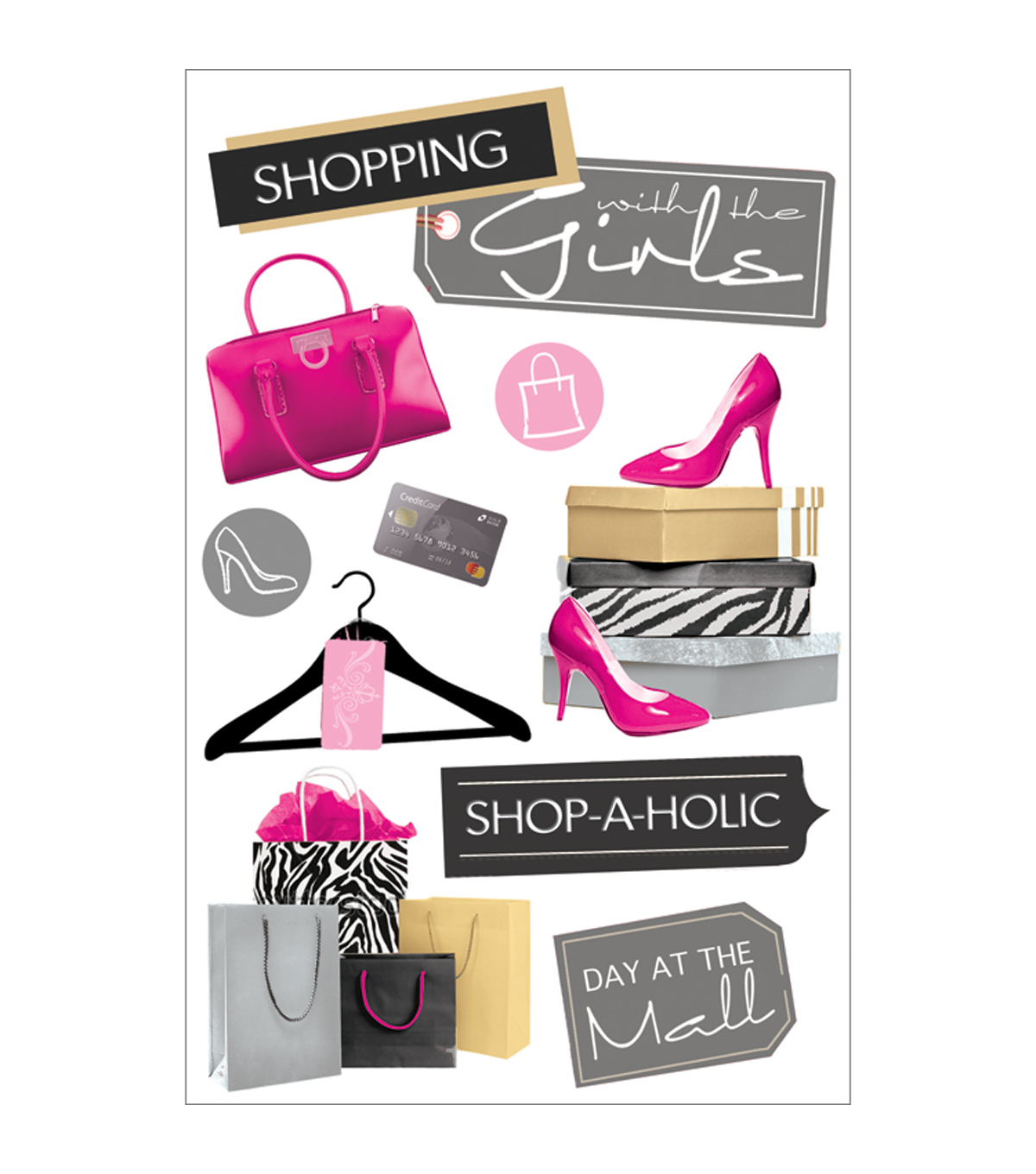 Paper House 3D Stickers-Shopping Girls