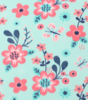 "Anti-Pill Fleece Fabric 59""-Coral Flowers On Mint"