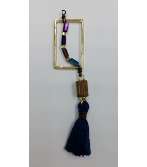 hildie & jo™ Gold Pendant with Beads & Navy Tassel