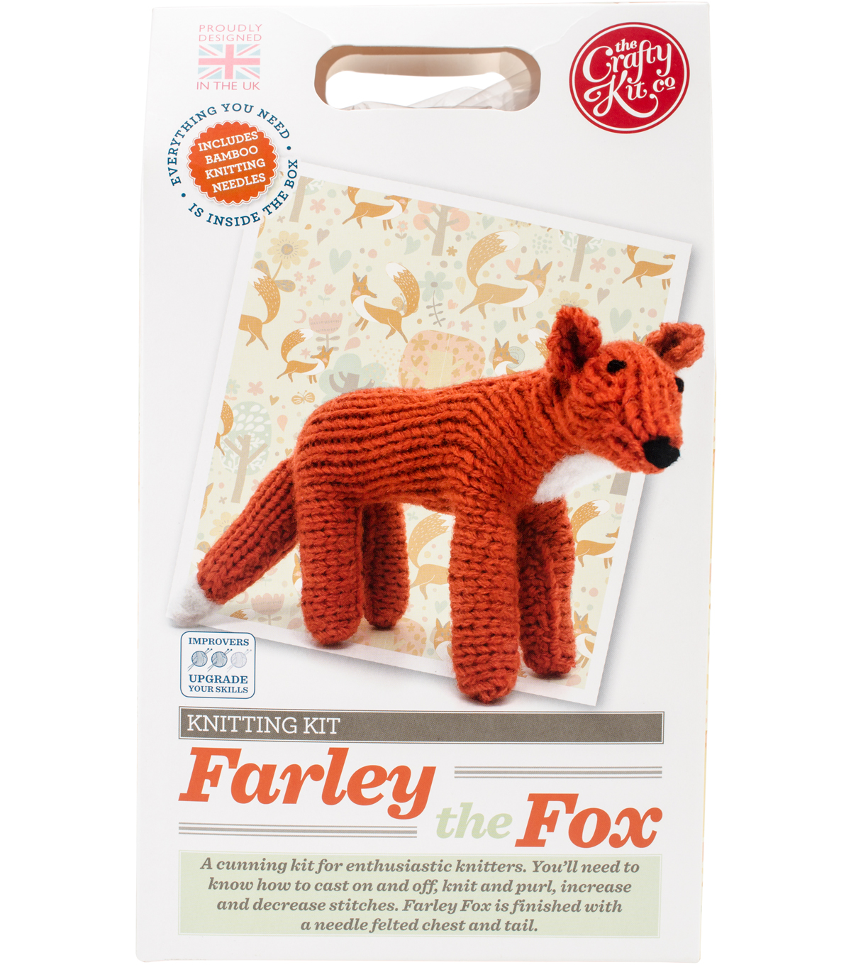 The Crafty Kit Co. Knitting Kit-Farley Fox