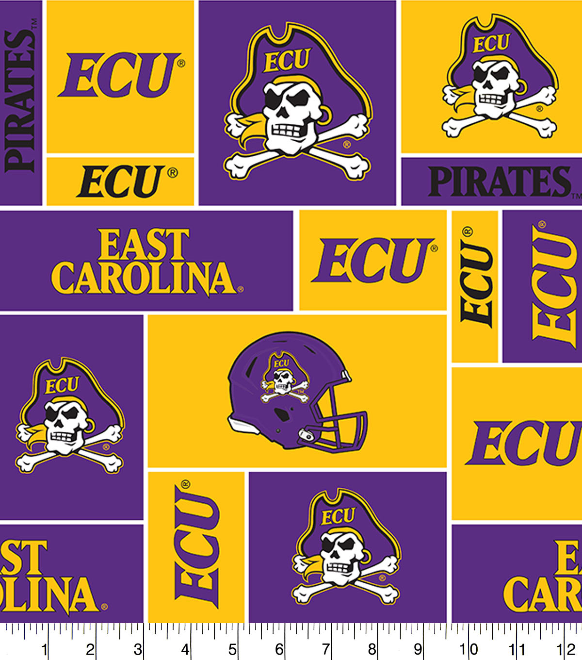 East Carolina University Pirates Fleece Fabric 58\u0022-Block