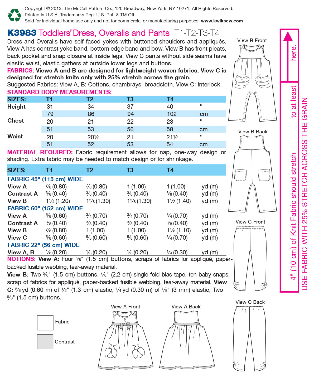 Kwik Sew Pattern K3983 Toddlers\u0027 Casual Outfits