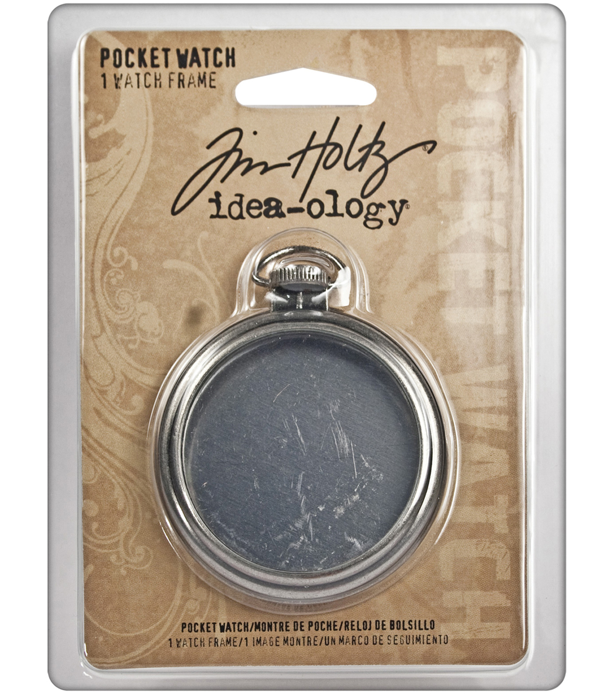 Tim Holtz Idea-Ology 2\u0022 Pocket Watch Frame-Antique Nickel