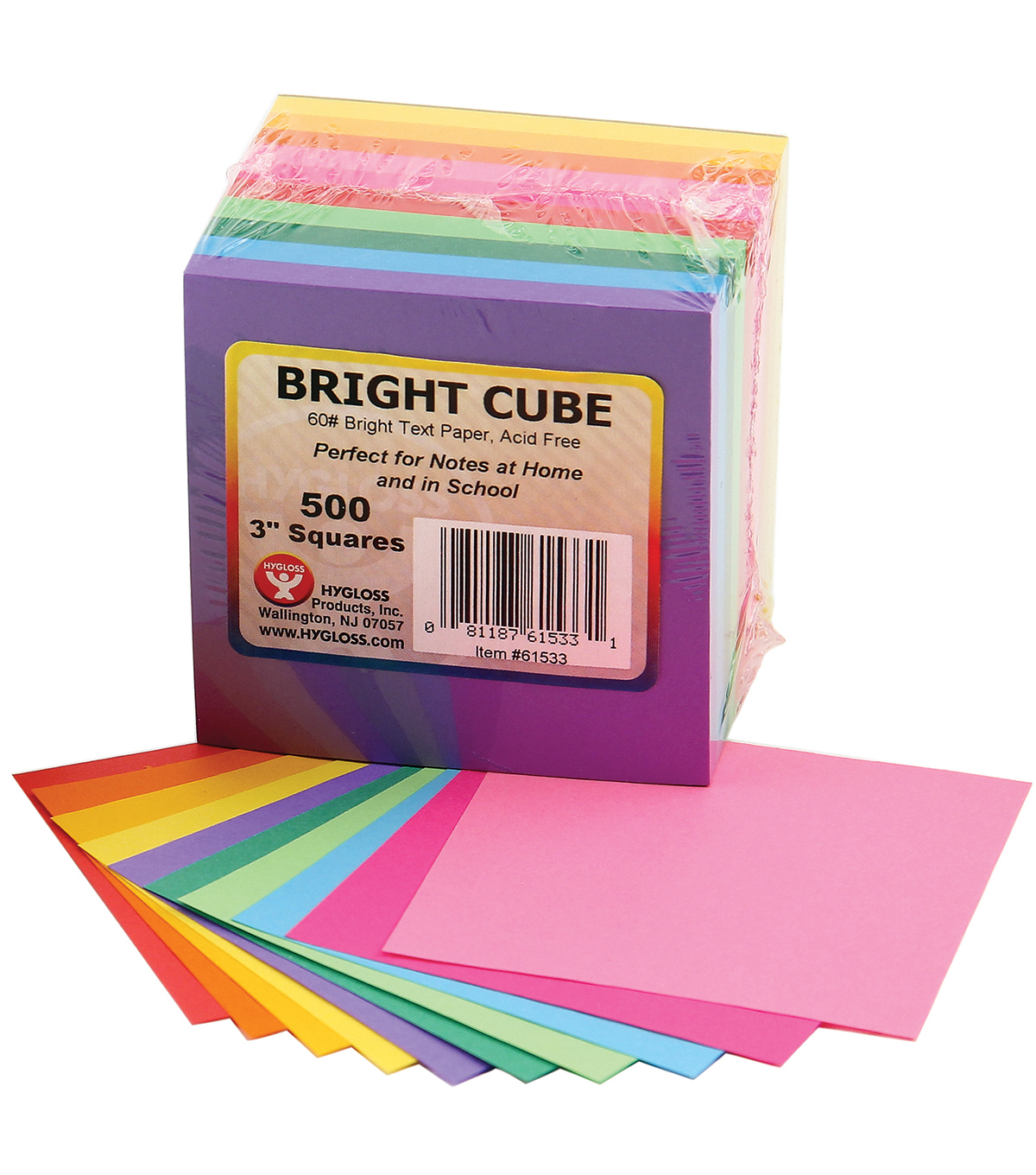 Mighty Bright Cube Paper Pad 3\u0022X3\u0022 500 Sheets/Cube-50 Sheets Each Of 10 Assorted Colors