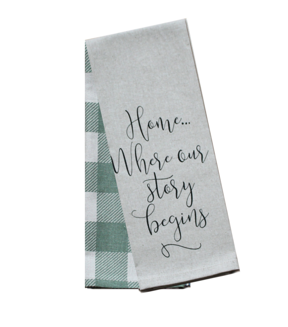 Hudson 43 Farm 2 Pack Towels-Home Where Our Story Begins & Green Checks