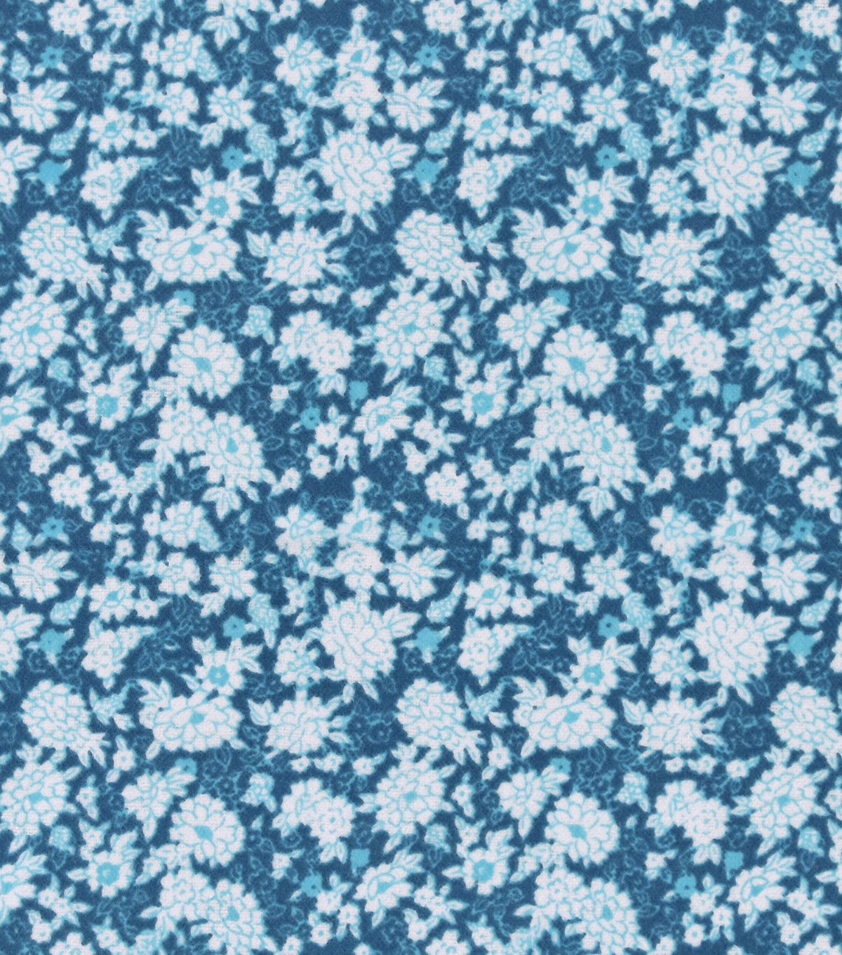Snuggle Flannel Fabric 42''-White Floral on Teal
