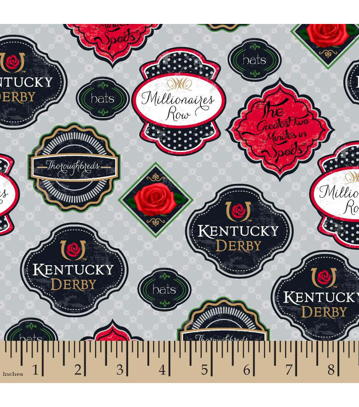 Kentucky Derby Badges Cotton Fabric
