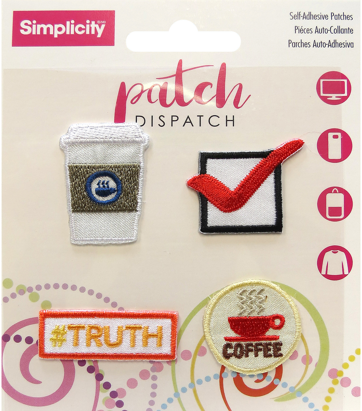 Simplicity® Embroidered Self-Adhesive Patches-Coffee & Check-4 Pack