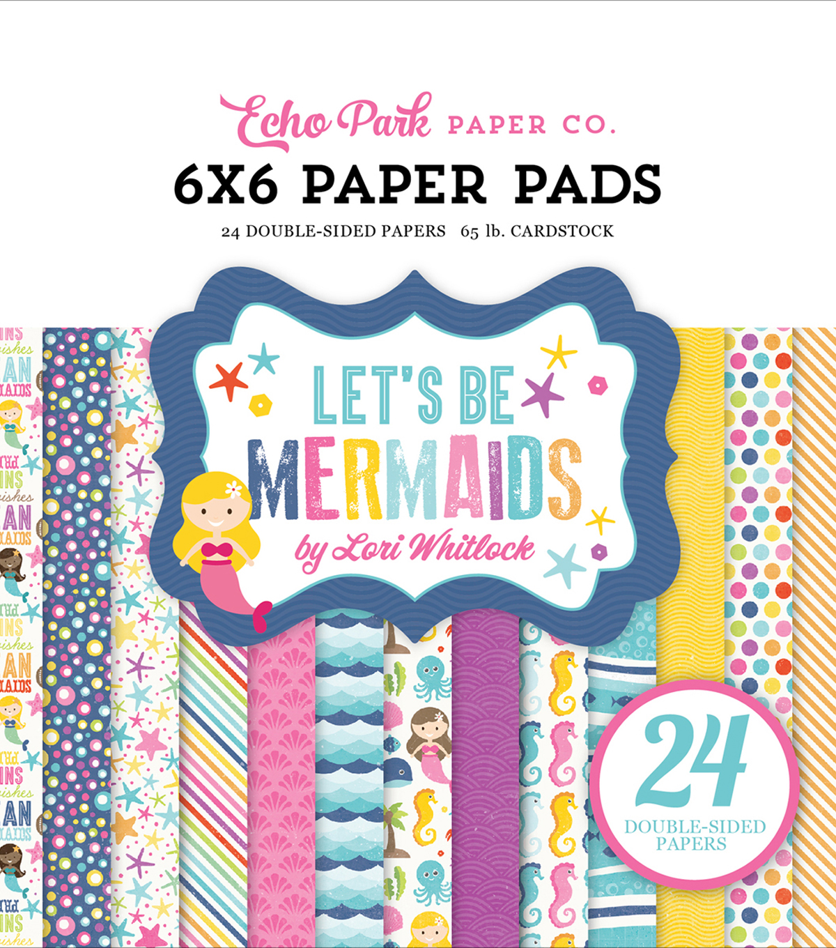 "Double-Sided Paper Pad 6""X6""-Let's Be Mermaids"