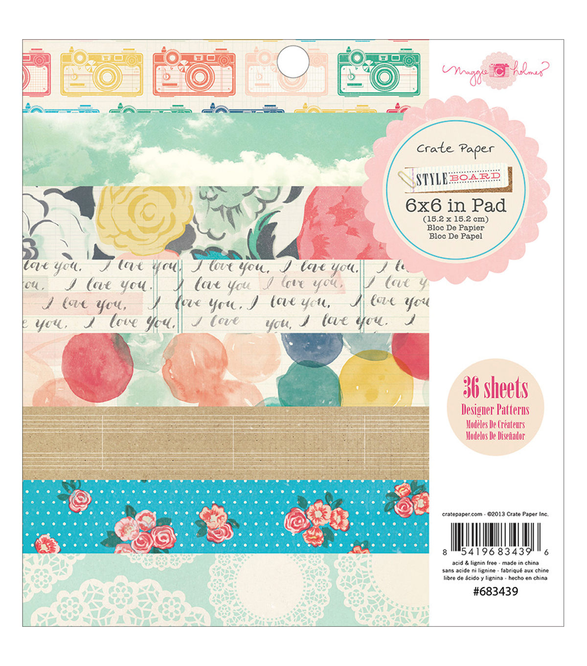 Styleboard paper Pad 6\u0022X6\u0022 36/Sheets-Single-Sided