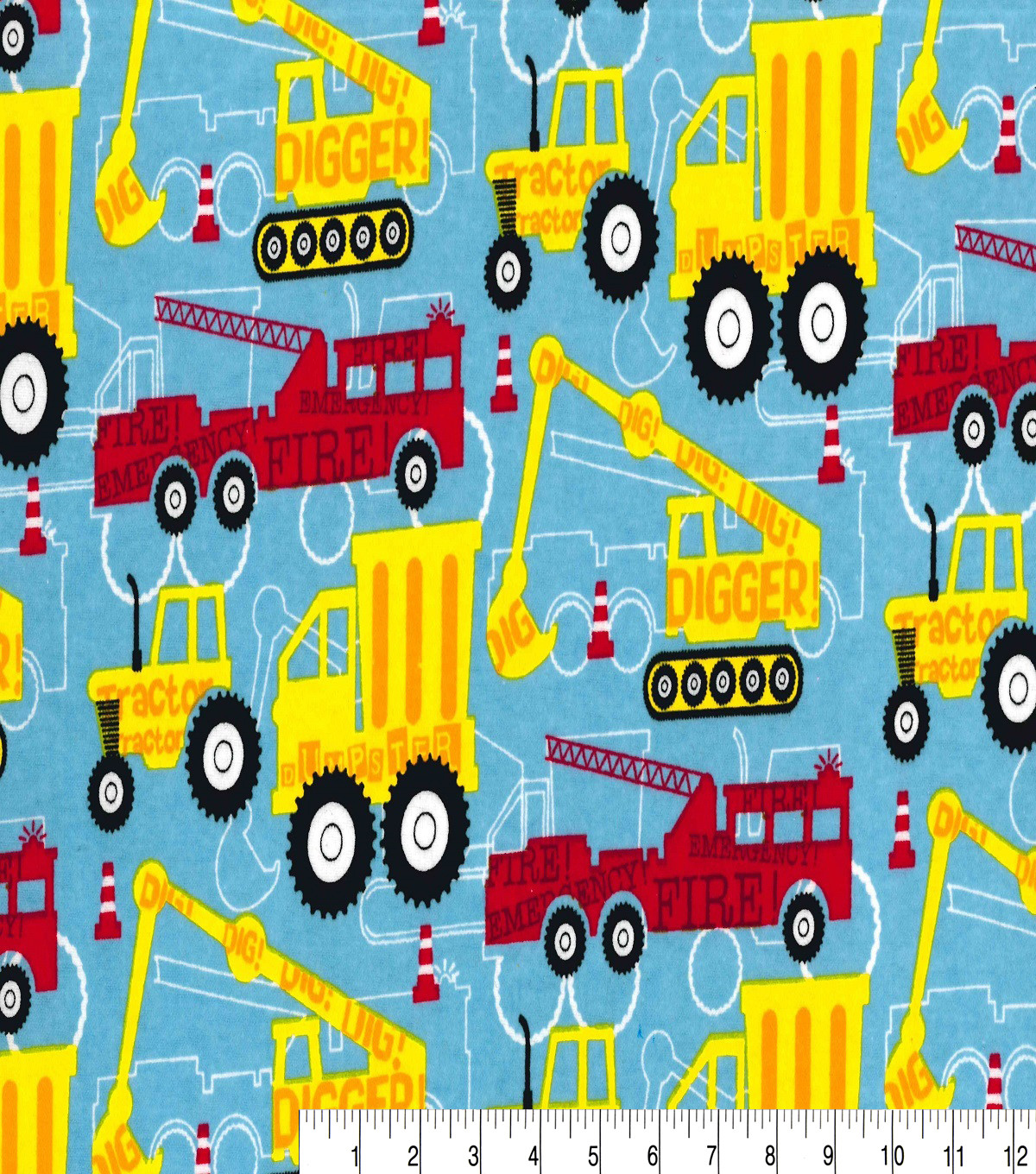 Snuggle Flannel Fabric 41\u0027\u0027-Red & Yellow Construction Trucks
