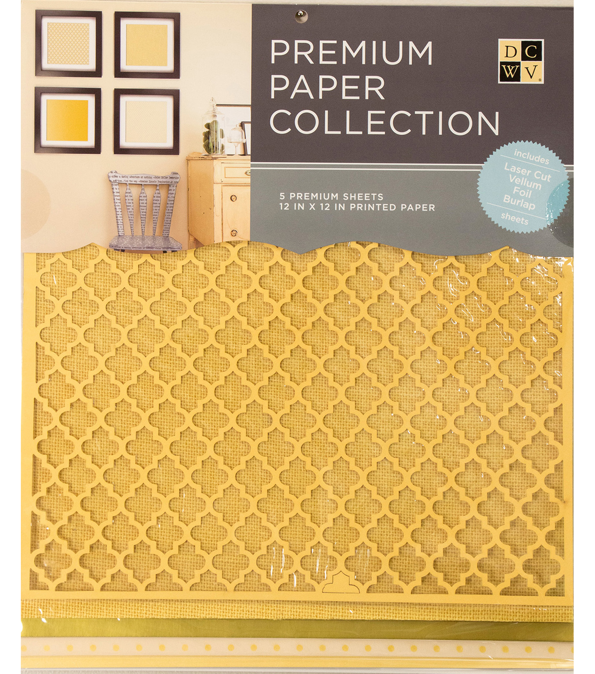 DCWV 12\u0022x12\u0022 set of 5 Premium Papers-Yellow Multipack Assortment