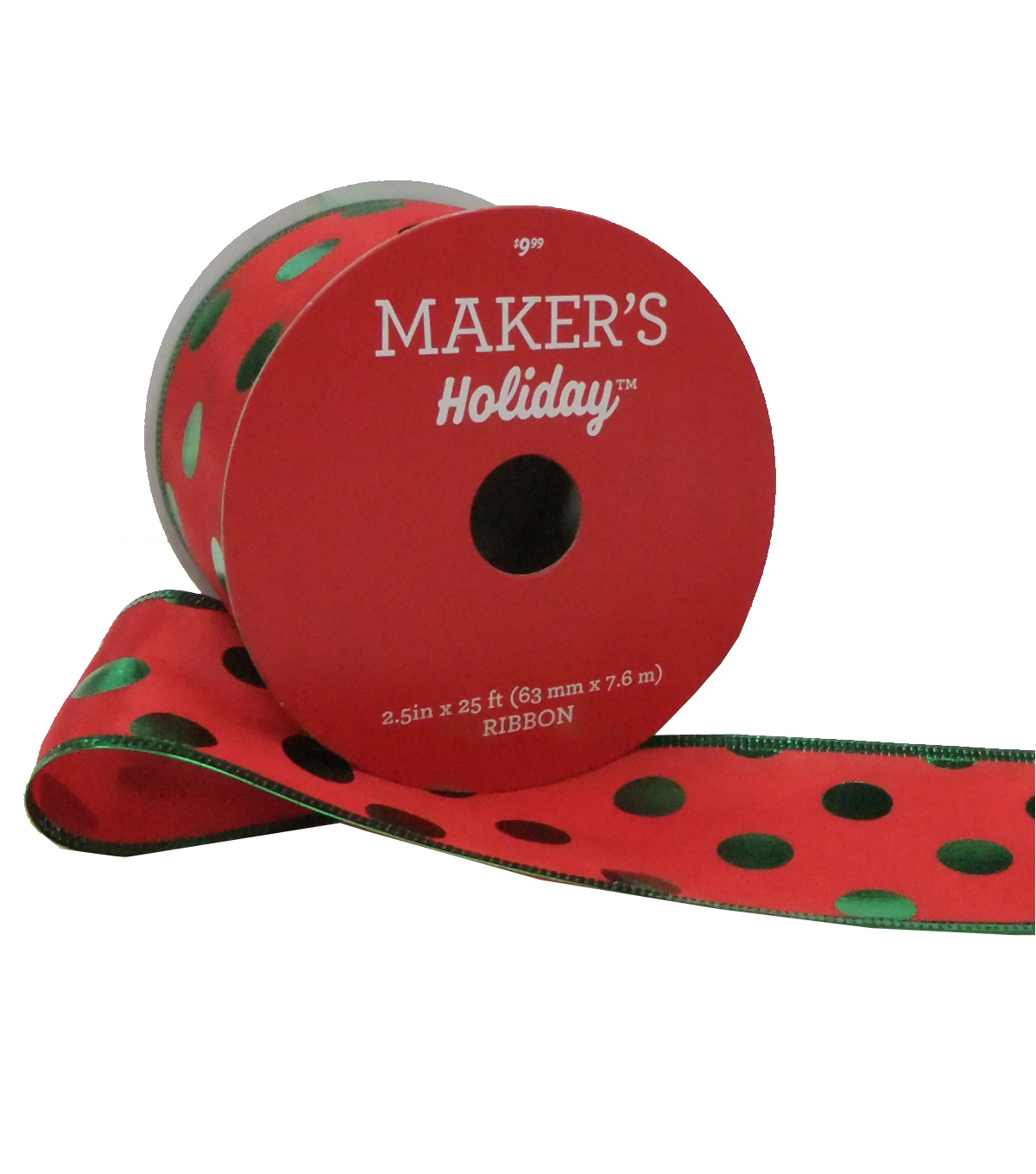 Maker's Holiday Christmas Satin Ribbon 2.5''x25'-Green Foil Dots on Red