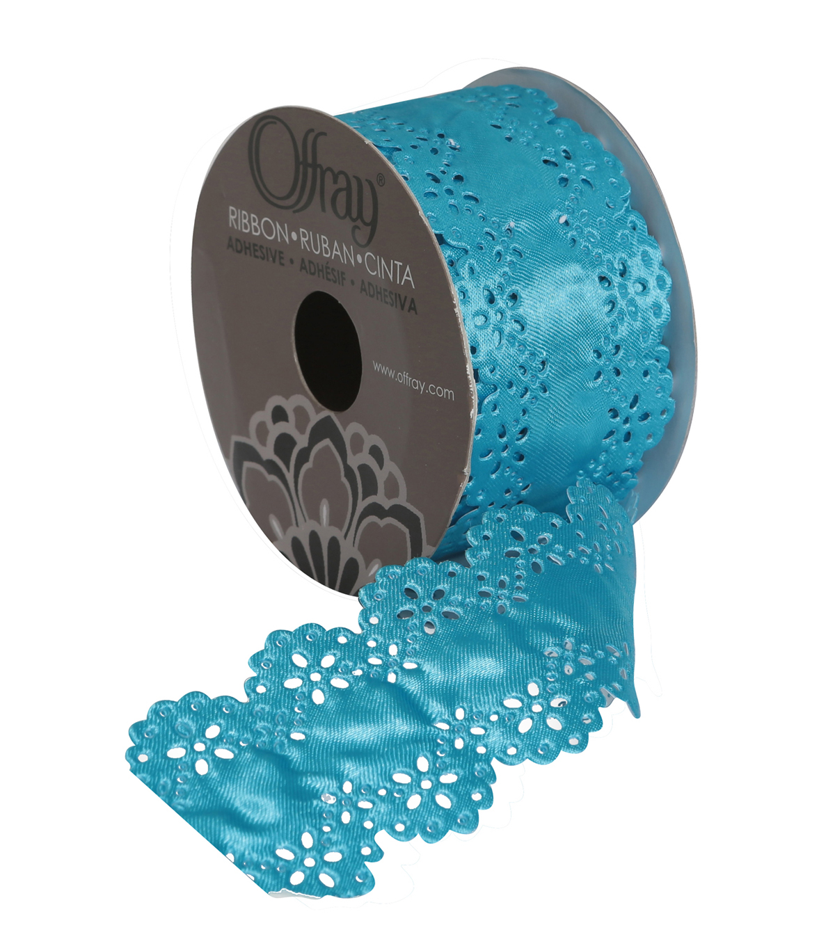 "Offray 1.75"" x 9' Die Cut Border Ribbon-Teal"