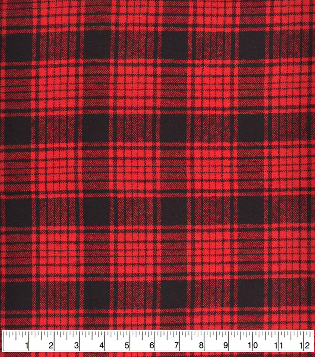 Plaiditudes Brushed Cotton Fabric 44\u0022-Black Red
