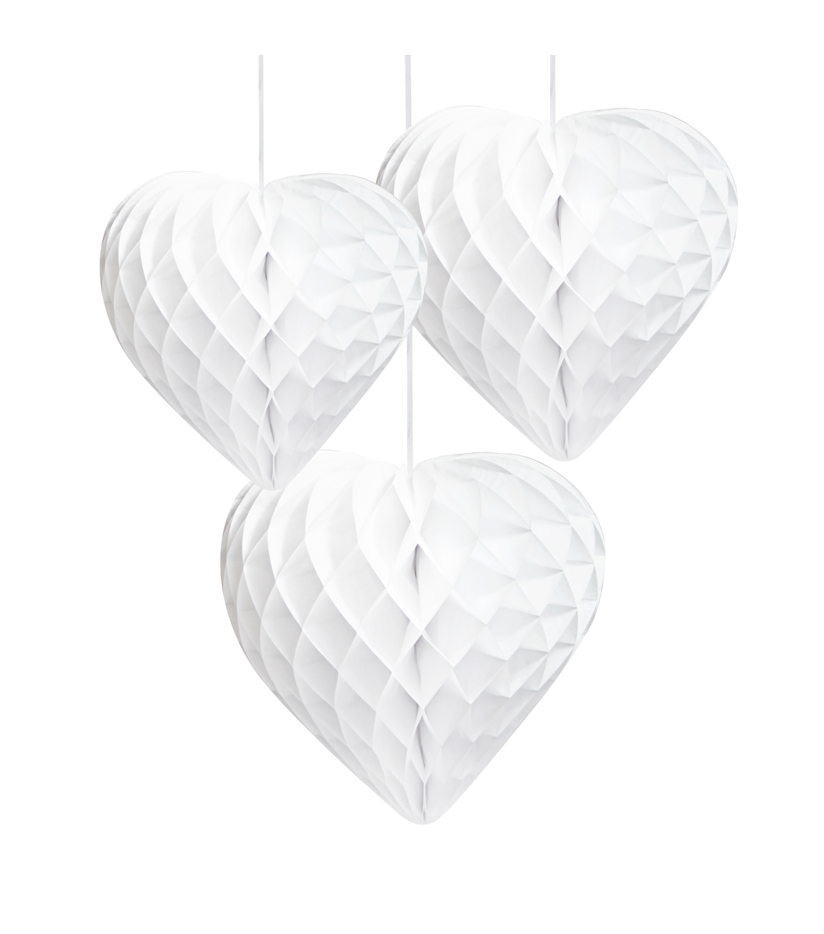 Decadent Decs White Honeycomb Hearts 3pk