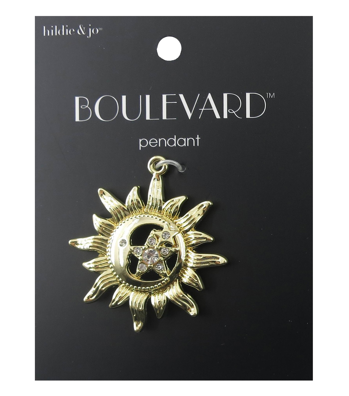 hildie & jo™ Boulevard 1.75''x1.5'' Sun with Star Gold Pendant