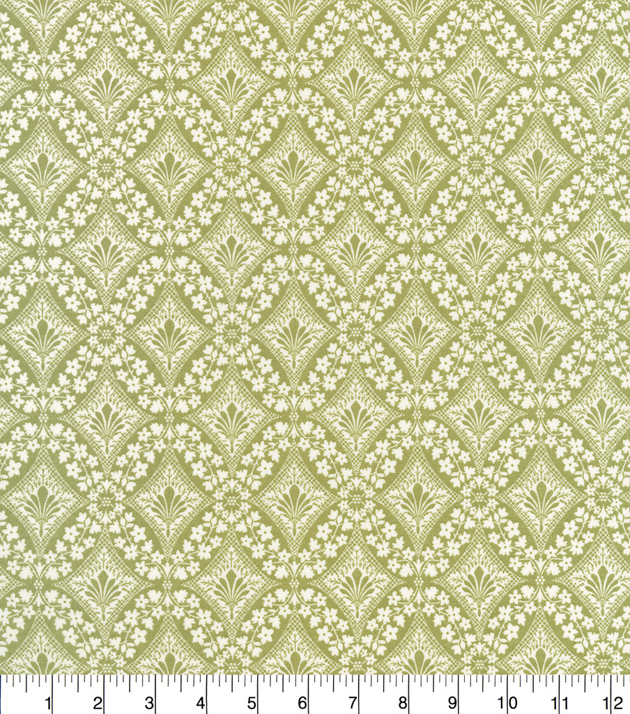 Premium Quilt Cotton Fabric 44\u0022-Lace Diamonds Olive