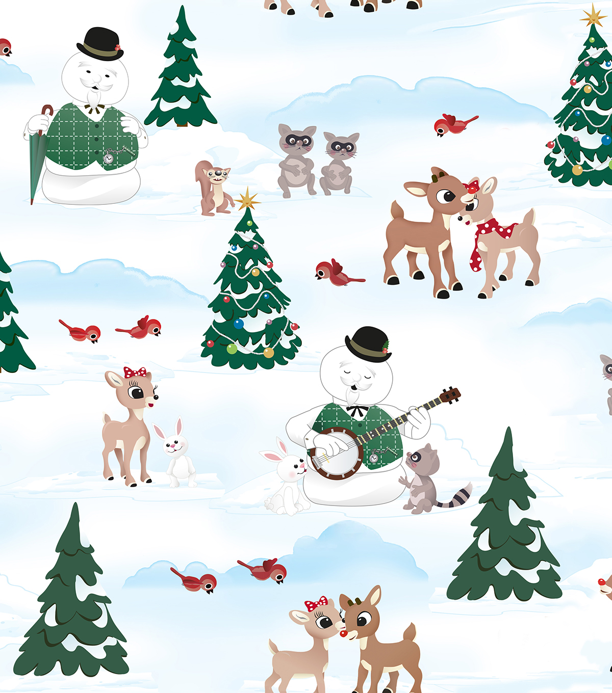 "Holiday Cotton Fabric 44""-Rudolph"