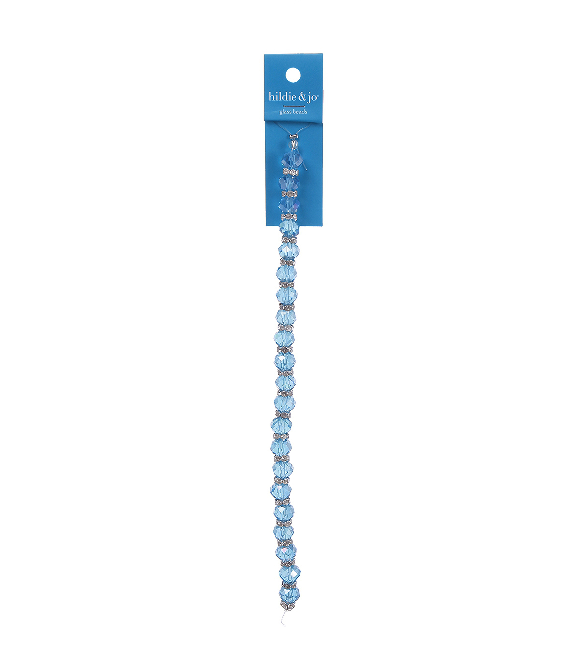 Blue Moon Beads 7\u0022 Crystal Strand, Rondelles with Metal Spacers, Blue