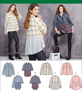 Simplicity Patterns Us1013H5-Simplicity Misses\u0027 Shirt With Fabric Variations-6-8-10-12-14