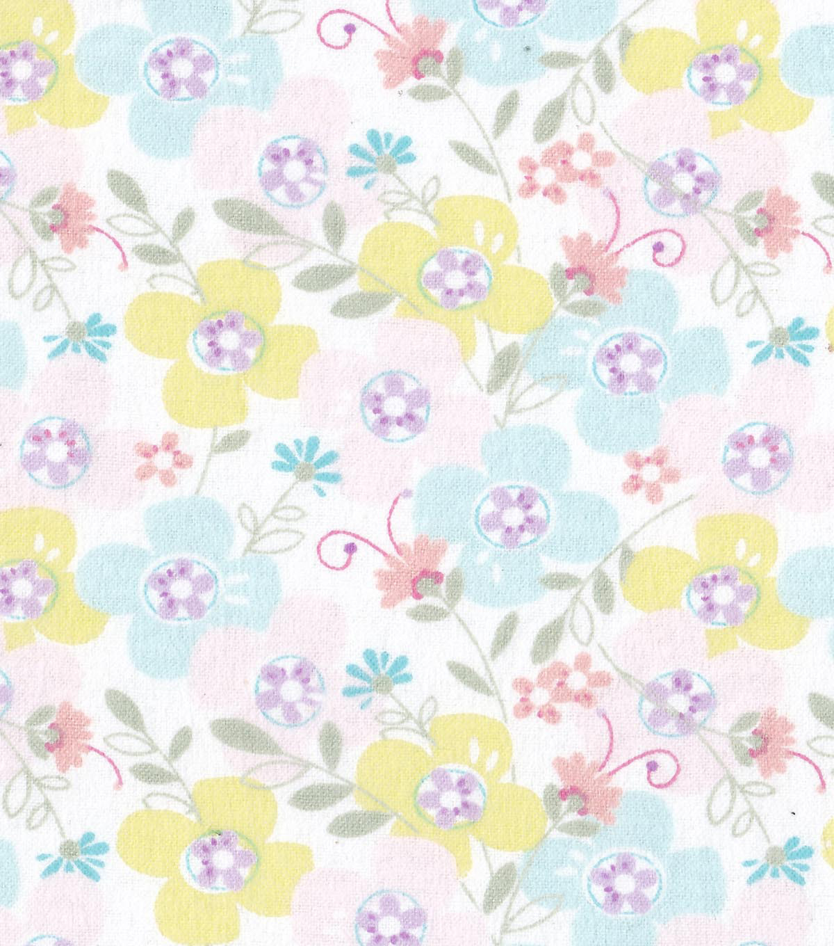 "Snuggle Flannel Fabric 42""-Sweet Flowers"