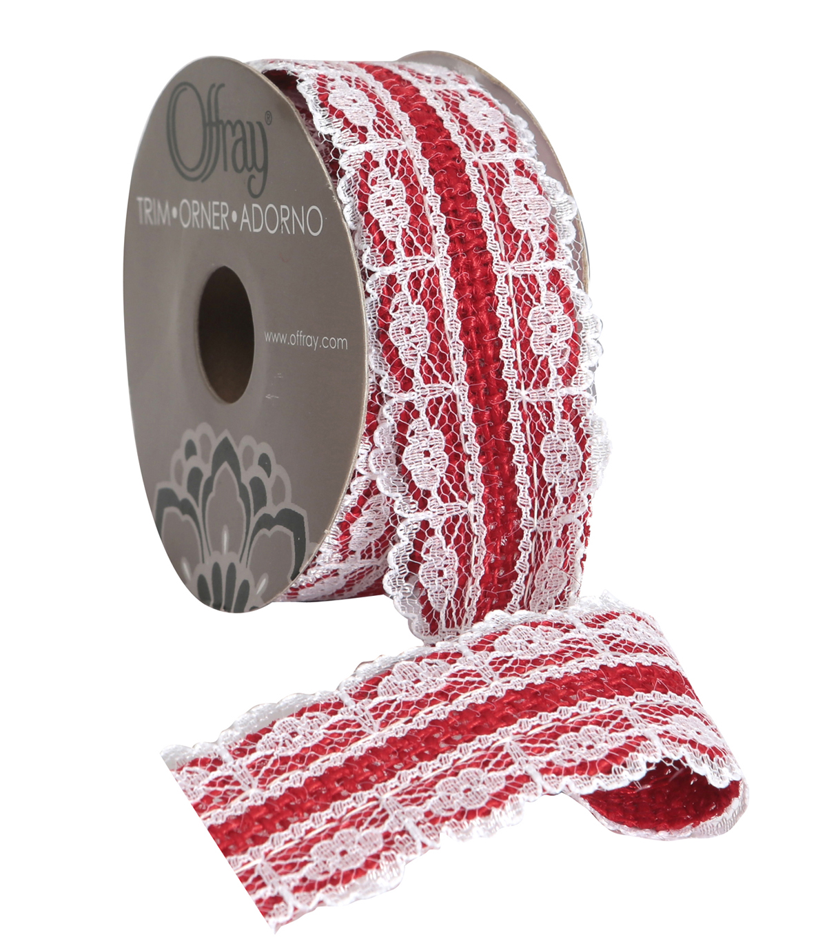 Burlap W Lace 1 And Half In Red Adhs Rb Ribbon