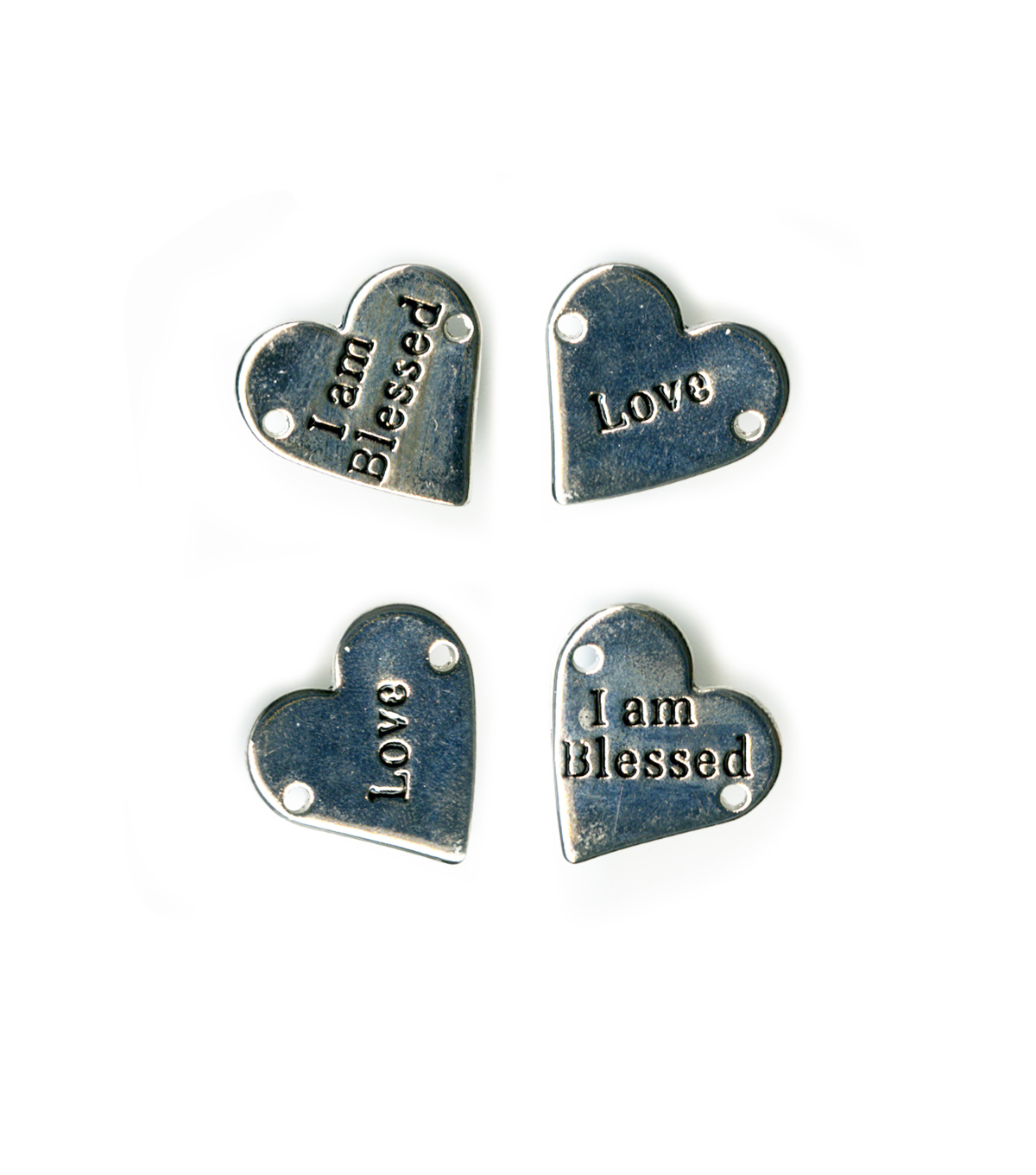 Blue Moon Beads Metal Connector 21mm Heart, I am Blessed, Love, Silver