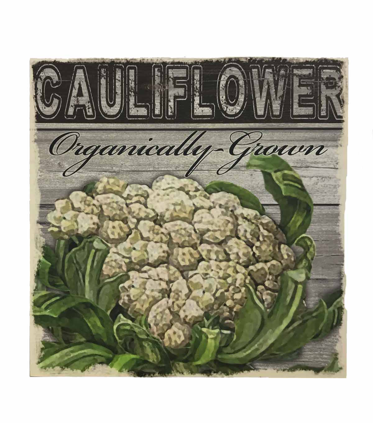Farm Fresh Wood Box Sign-Cauliflower