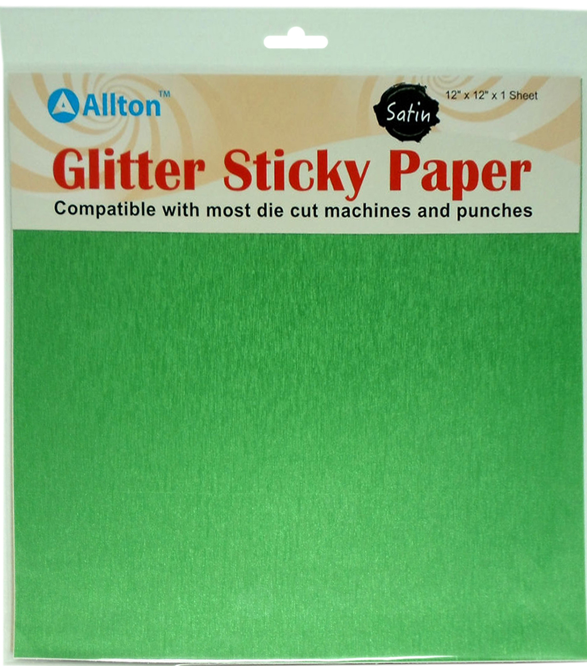 Allton 12\u0022X12\u0022 Satin Glitter Sticky Paper-Apple Green