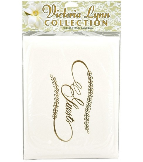 Darice® Wedding Guest Book-White W/Gold Lettering