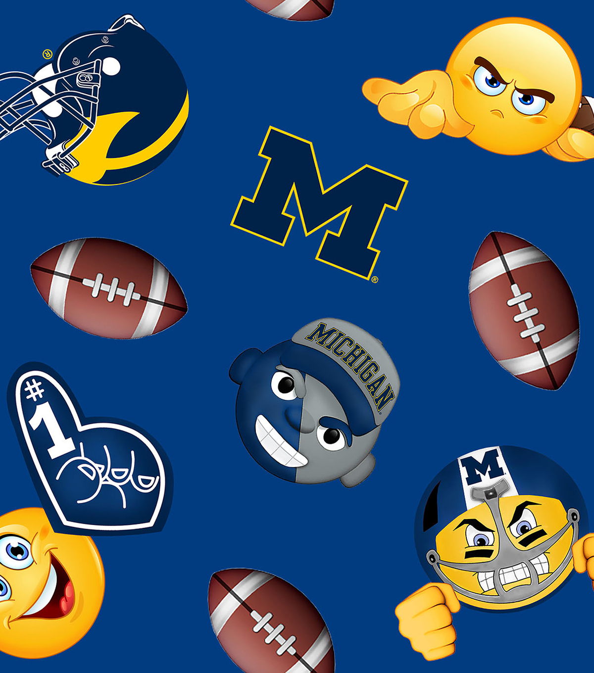 "University of Michigan Wolverines Fleece Fabric 60""-Emoji"