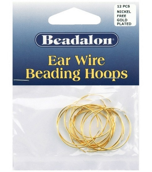 Beadalon 25mm Medium Ear Wire Beading Hoops-12PK/Gold Plated
