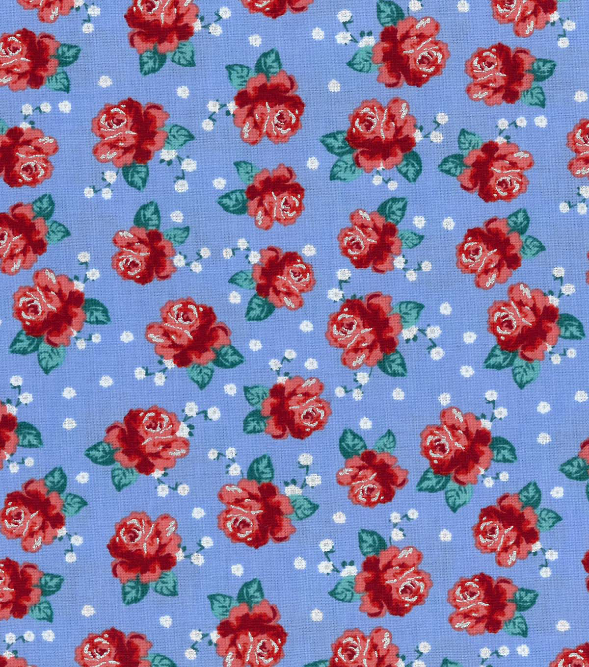"Buttercream™ Poppy Cotton Fabric 43""-Ditsy Rose Red"