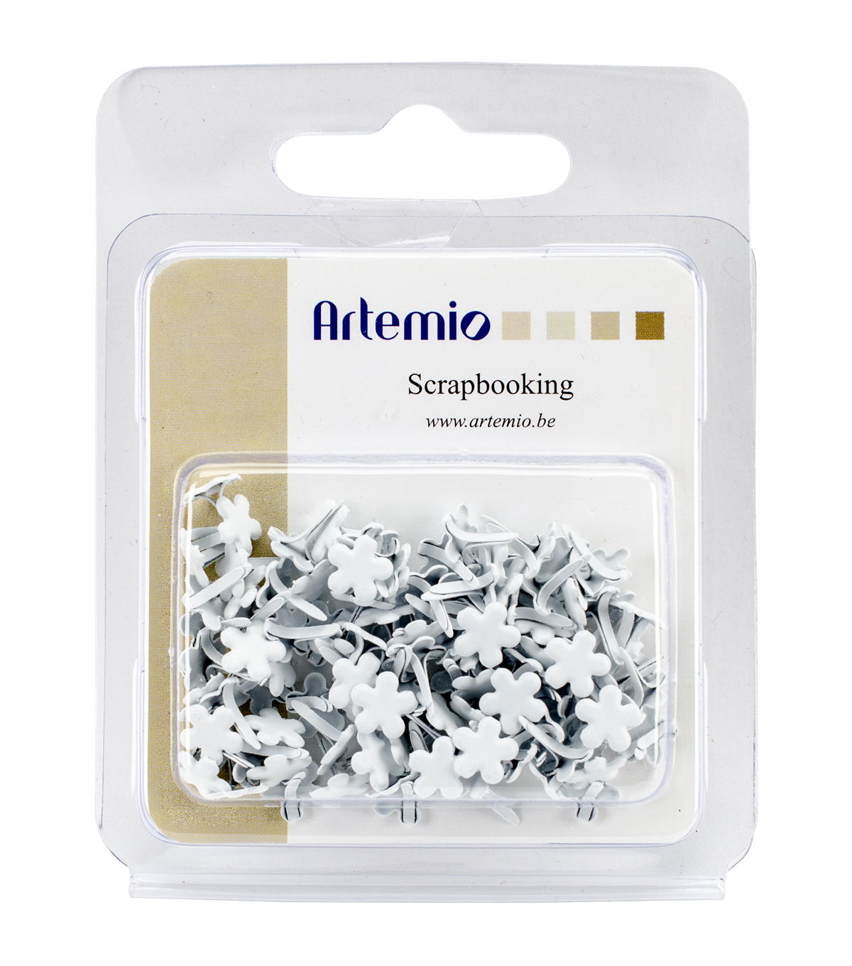 Artemio .28\u0022 Shaped Mini Brads 100/Pkg-White Flowers