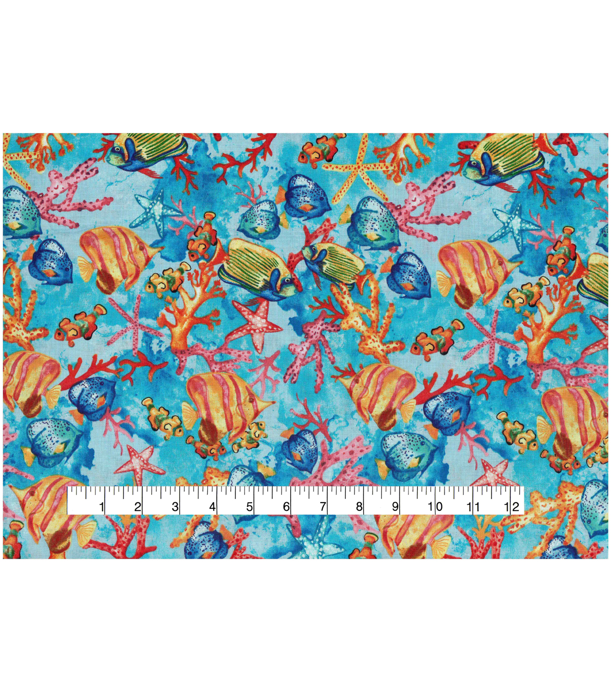 Novelty Cotton Fabric 44\u0022-Tropical Fish In Coral