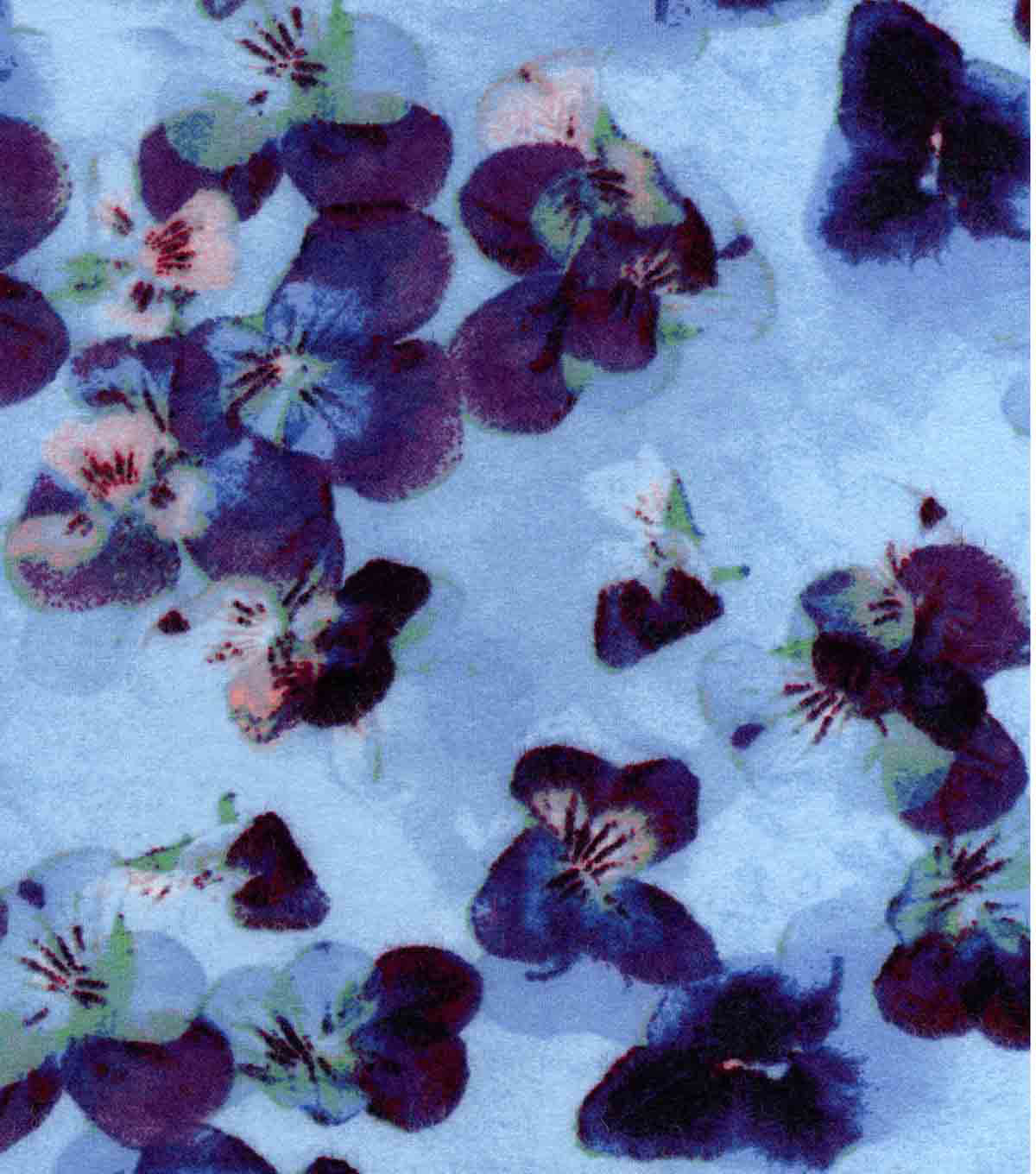 Luxe Flannel Fabric 42\u0022-Pressed Petals Lt Blue