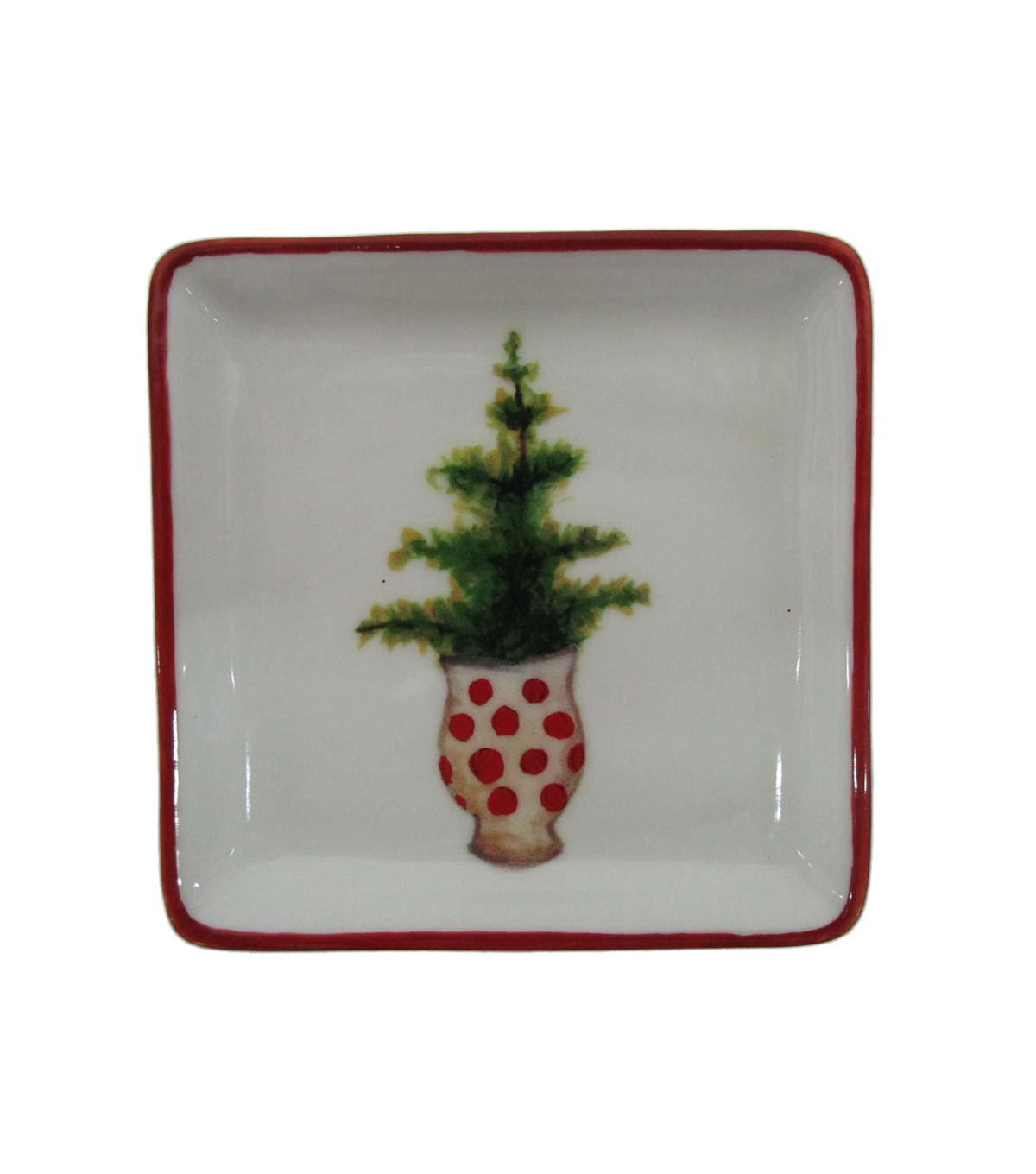 Maker\u0027s Holiday Christmas Stoneware Square Plate-Tree in Pot