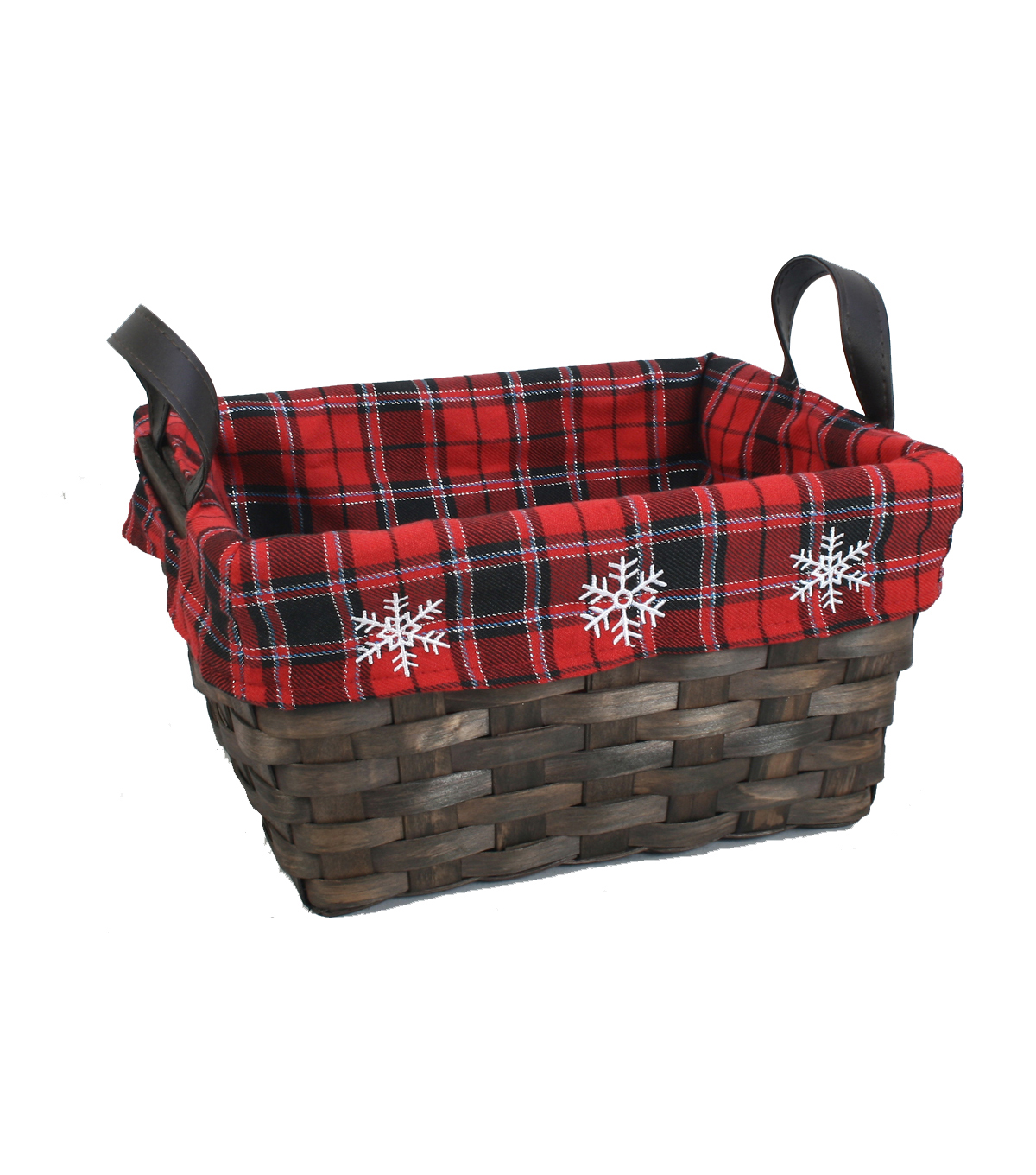 Maker\u0027s Holiday Large Square Plaid Snowflake Basket
