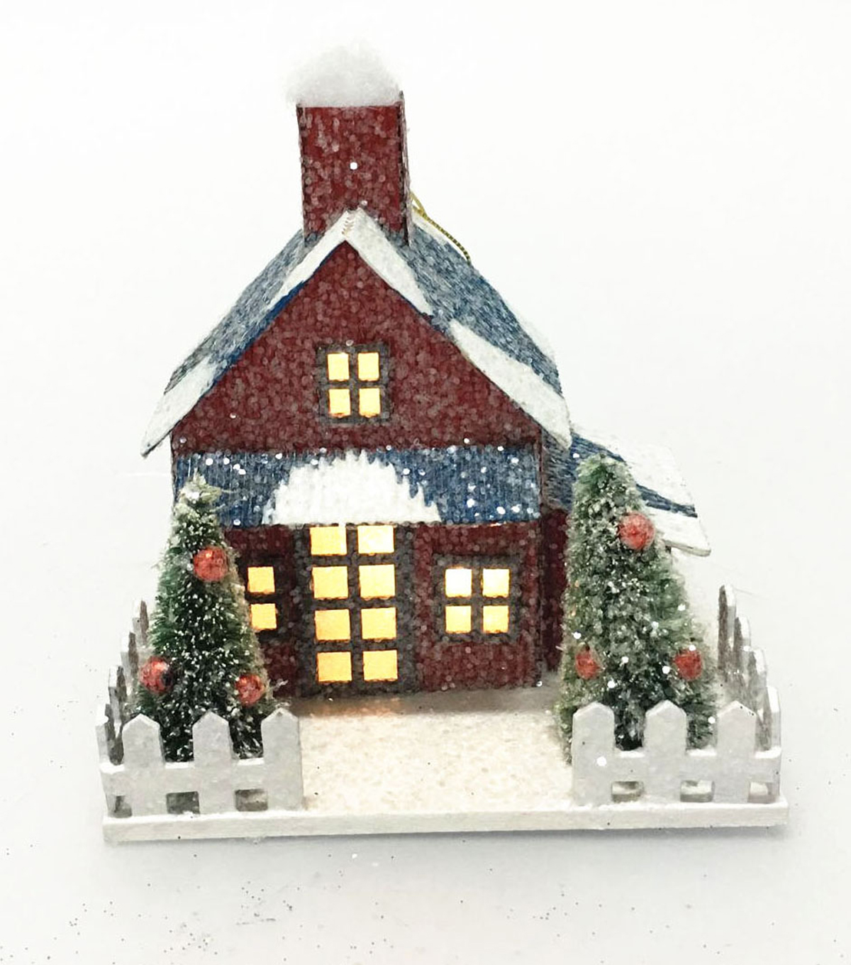 Maker\u0027s Holiday Red LED Paper House with Blue Roof