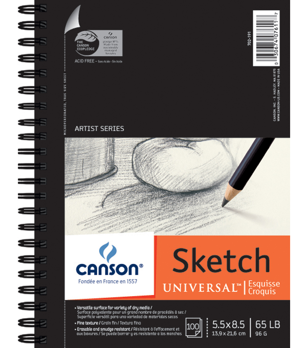 "Canson Universal Spiral Sketch Book 5.5""X8.5""-100 Sheets"