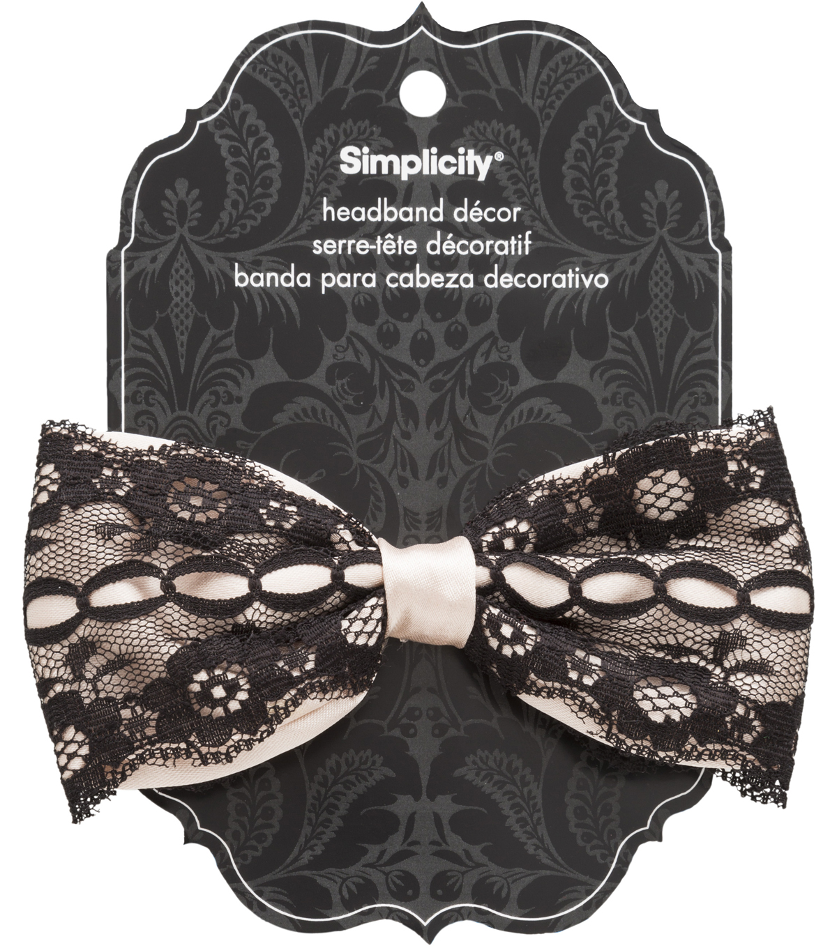 Hair Acc Lace Satin Bow Nude Black