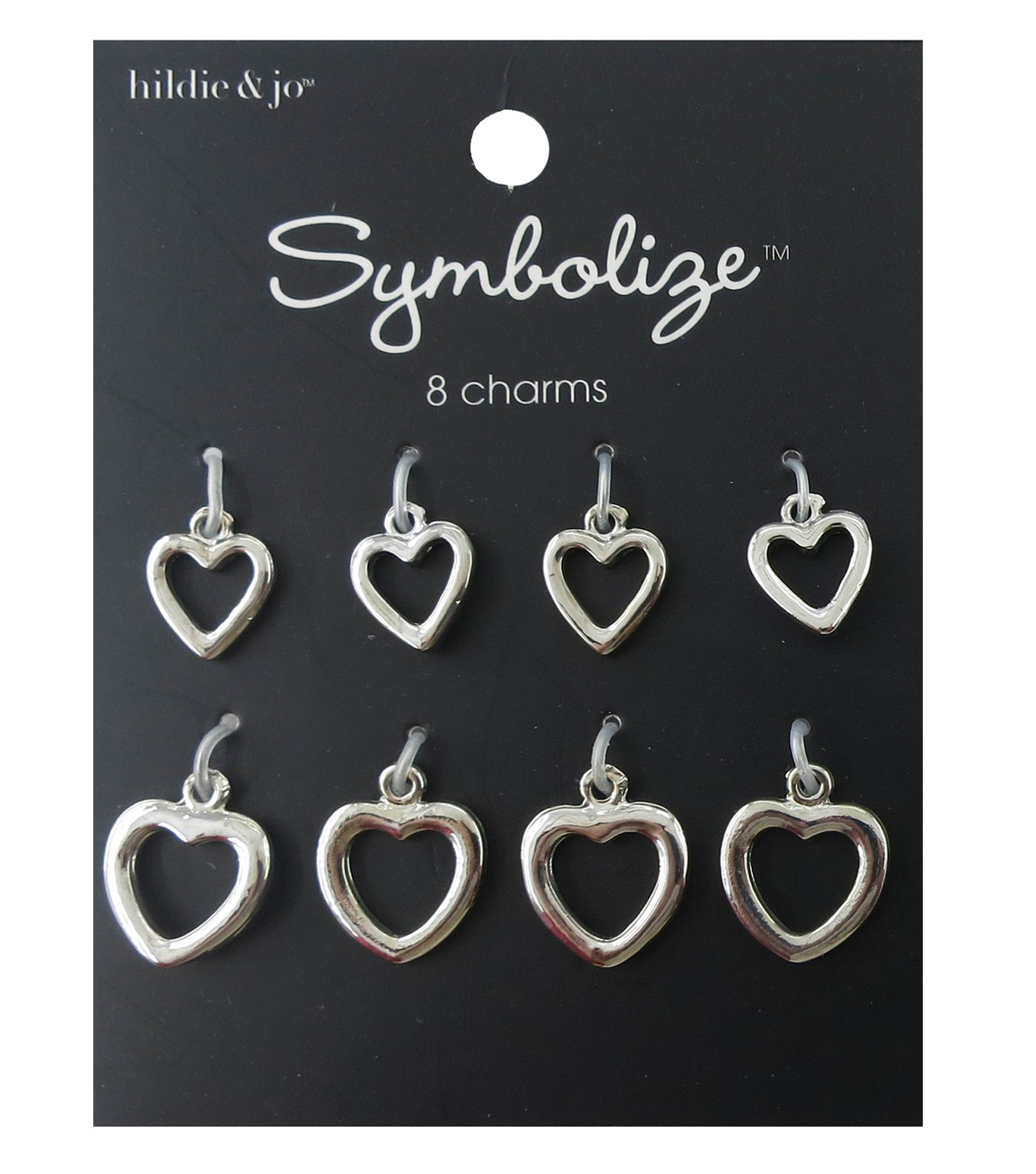 hildie & jo™ Symbolize 8 Pack Heart Silver Charms