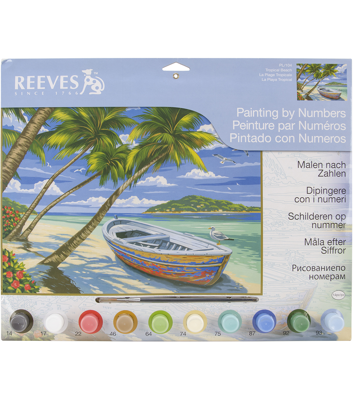 "Reeves Paint By Number Kit 12""X16""-Tropical Beach"
