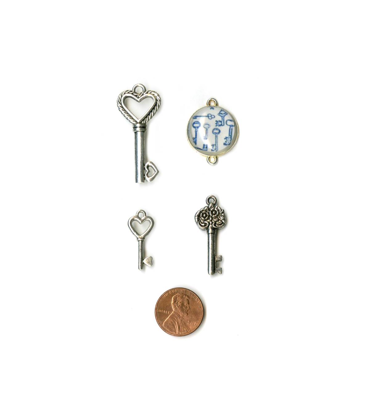 Blue Moon Beads Metal Charms Range: 23x10mm to 39x17mm, Keys, Silver